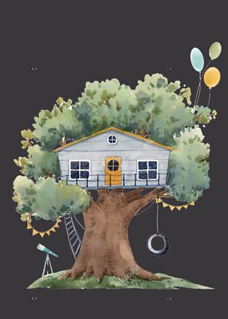 Постер Серый домик на дереве на черном фоне  - фото