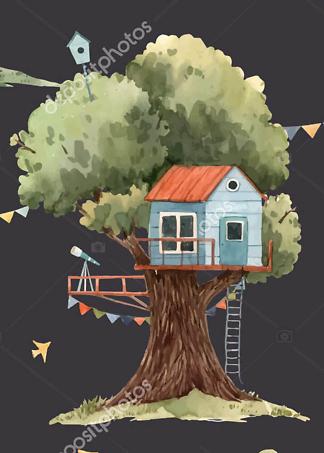 Постер Голубой домик на дереве на черном фоне  - фото