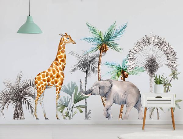 Наклейки на стену Жираф и Слон