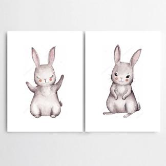 Постер Акварельные зайчики  - фото