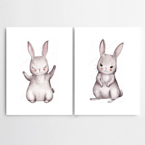 Постер Акварельные зайчики