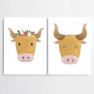 Постер Корова и бык