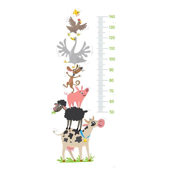 Детский ростомер Животные с фермы