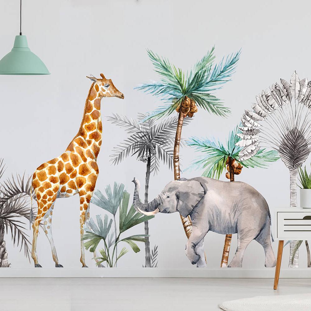 Наклейка Жираф и Слон