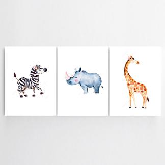 Постер Жираф, носорог, зебра
