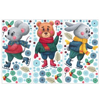 Наклейка на окно Медведь, мышонок, зайчонок  - фото 2
