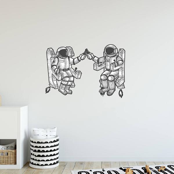 Наклейка Два друга космонавта
