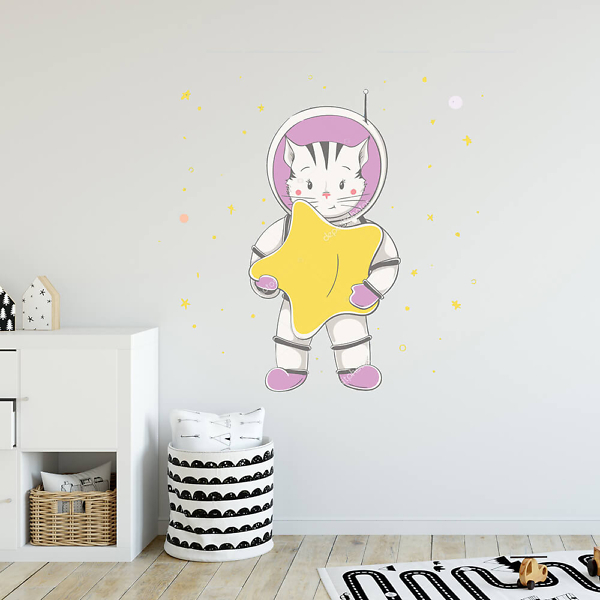 Наклейка на стену Кот-космонавт