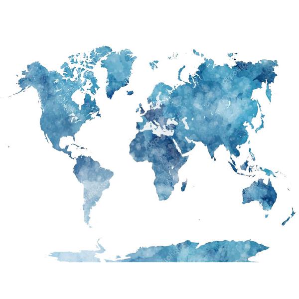 Наклейка на стену карта Акварельная бледно-голубая