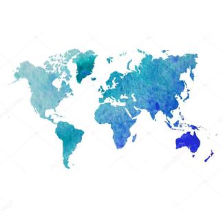 Наклейка на стену карта Акварельная голубая