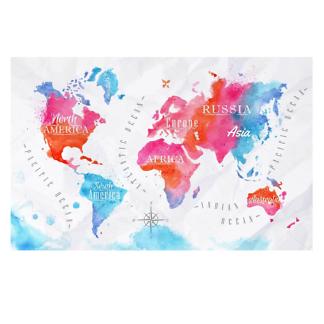 Наклейка на стену карта Акварельная с фоном