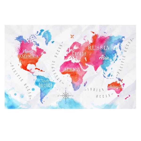Наклейка на стену карта Акварельная с фоном  - фото
