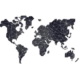 Наклейка на стену карта Черная полигональная