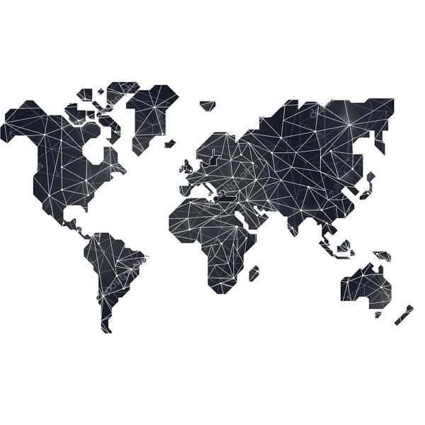Наклейка на стену карта Черная полигональная  - фото