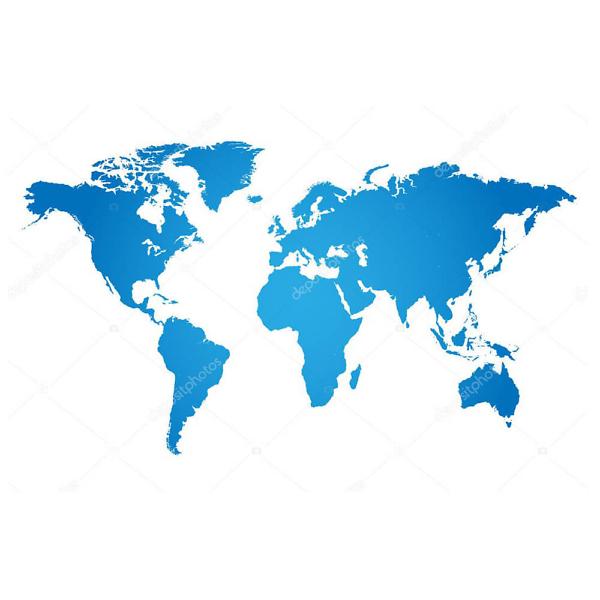 Наклейка на стену карта Голубая  - фото