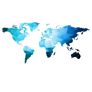 Наклейка на стену карта Полигональная синяя