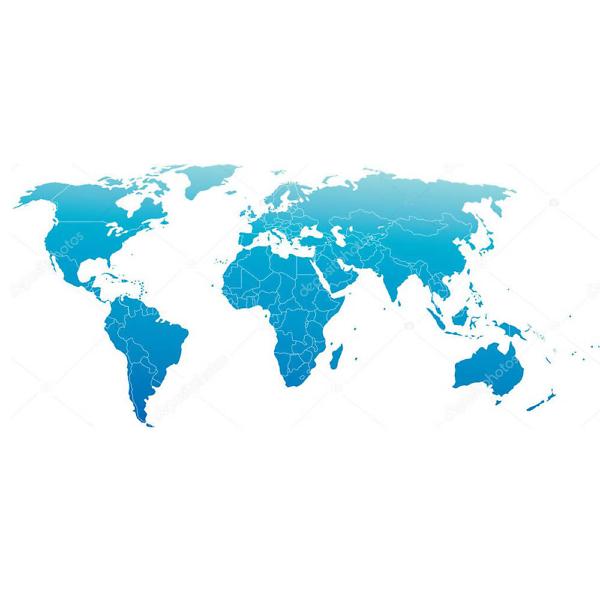 Наклейка на стену карта Политическая голубая  - фото