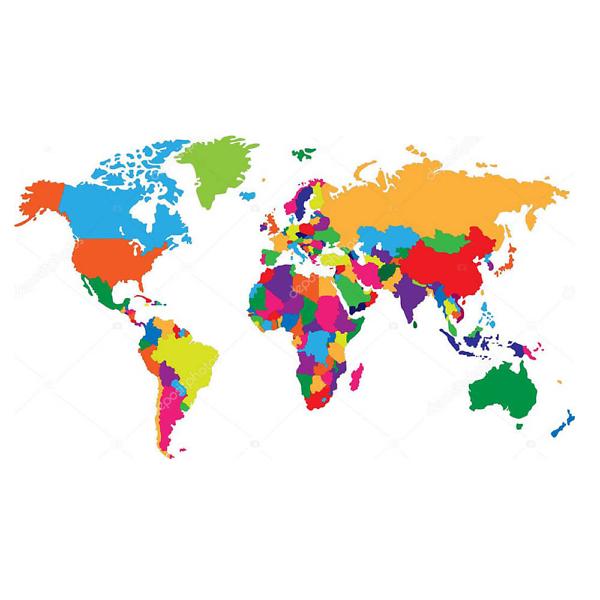 Наклейка на стену карта Политическая разноцветная  - фото