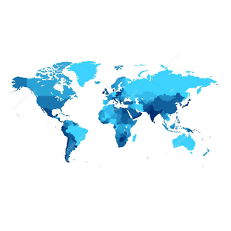 Наклейка на стену карта Политическая в синих оттенках