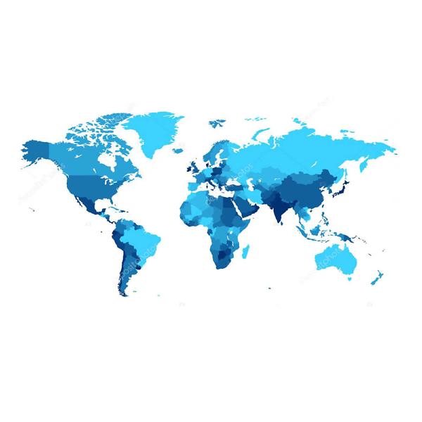 Наклейка на стену карта Политическая в синих оттенках  - фото