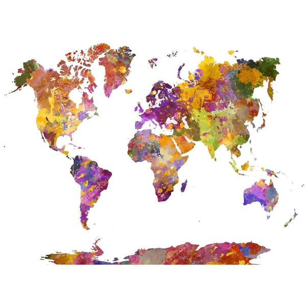 Наклейка на стену карта Разноцветными красками