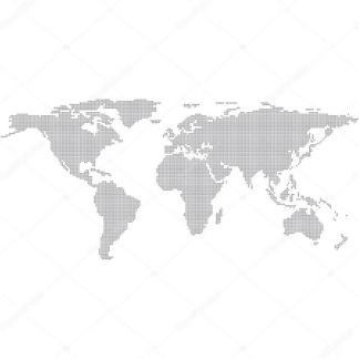 Наклейка на стену карта Серая точками