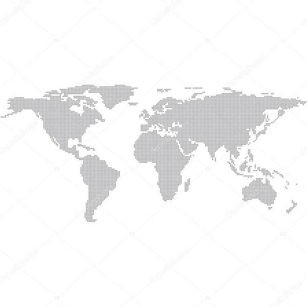 Наклейка на стену карта Серая точками  - фото
