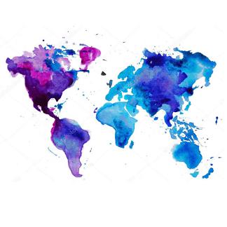Наклейка на стену карта Сиренево-голубая