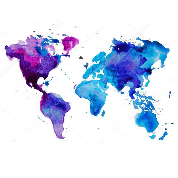 Наклейка на стену карта Сиренево-голубая  - фото
