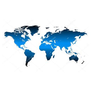 Наклейка на стену карта Синяя