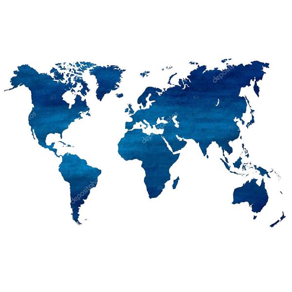 Наклейка на стену карта Темно Синяя  - фото