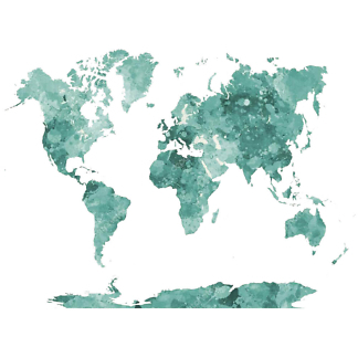 Наклейка на стену карта Темно-зеленая