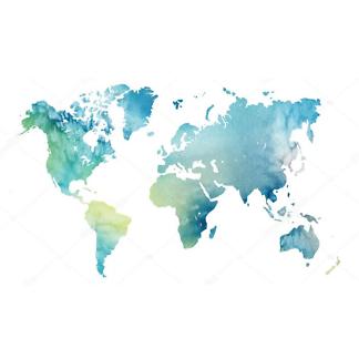 Наклейка на стену карта Зелено-голубая
