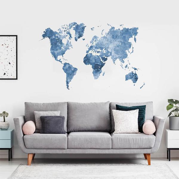 Наклейка на стену карта Блекло-синяя  - фото