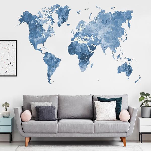 Наклейка на стену карта Блекло-синяя  - фото 2