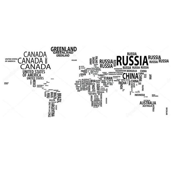 Наклейка на стену карта из названий стран  - фото