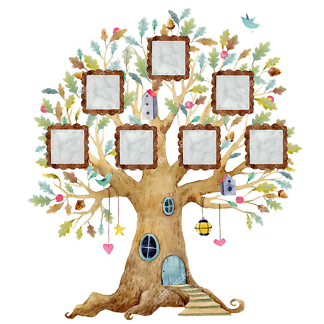 Наклейка на стену дерево с фоторамками (квадратные)  - фото