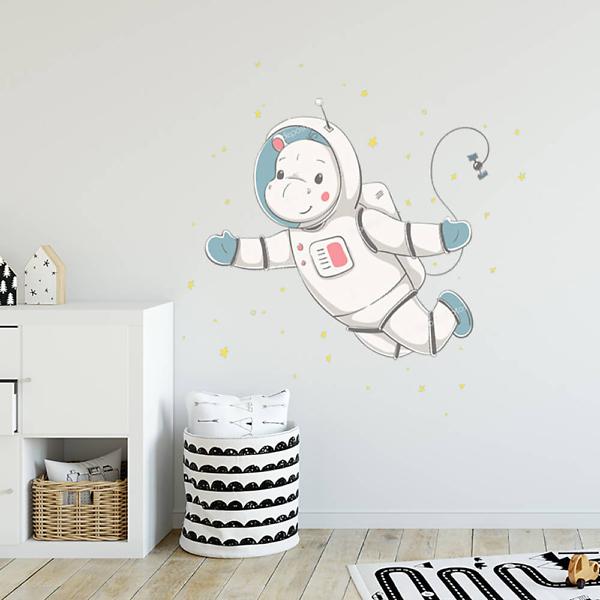 Наклейка на стену Бегемот в космосе