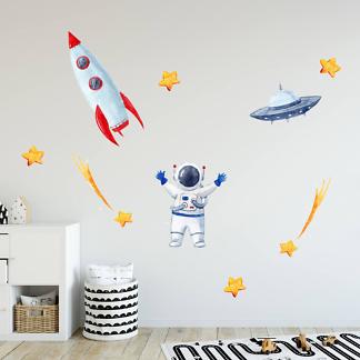 Наклейка на стену Космонавт и ракета