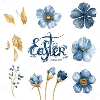Наклейка цветы Синие  - фото