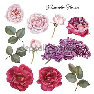 Наклейка цветы контрастные  - фото