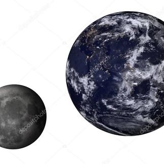 Наклейка Земля и Луна  - фото