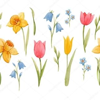Наклейка цветы Весенние  - фото