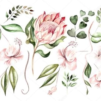 Набор наклеек цветы гибискуса  - фото