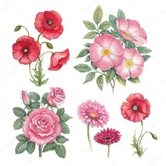 Наклейка цветы Ретро  - фото