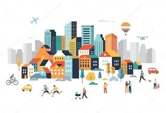 Наклейка Город  - фото