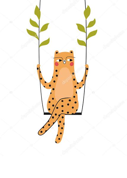 Леопард на качелях  - фото