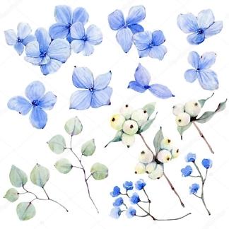 Наклейка на стену Цветы Голубые  - фото