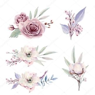 Наклейка Цветы акварельные в винтажном стиле  - фото