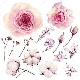 Наклейка Розы и хлопок  - фото